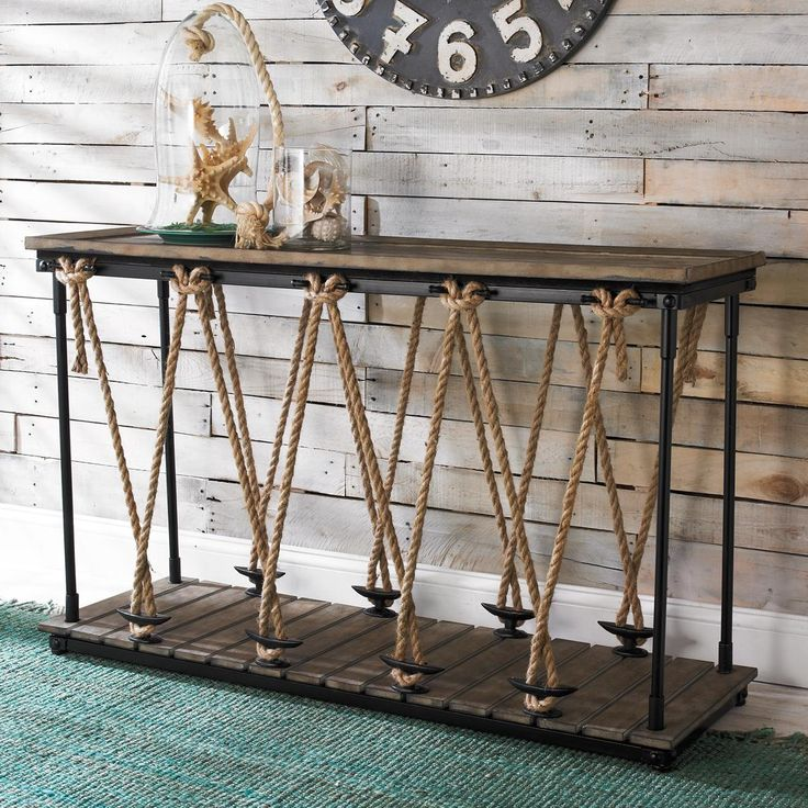 Rope and boat cleat credenza table