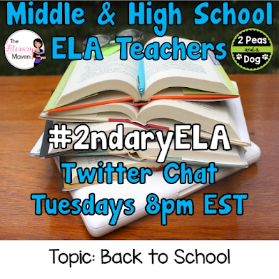 Join secondary English Language Arts teachers Tuesday evenings at 8 pm EST on Twitter. This week's chat will be about back to school ideas.