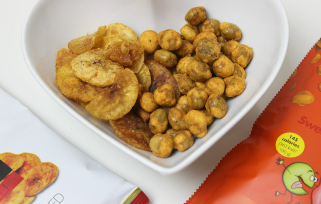 A picture of Chika's Chilli Plantain Crisps and Taking the Pea Sweet Chilli Salsa