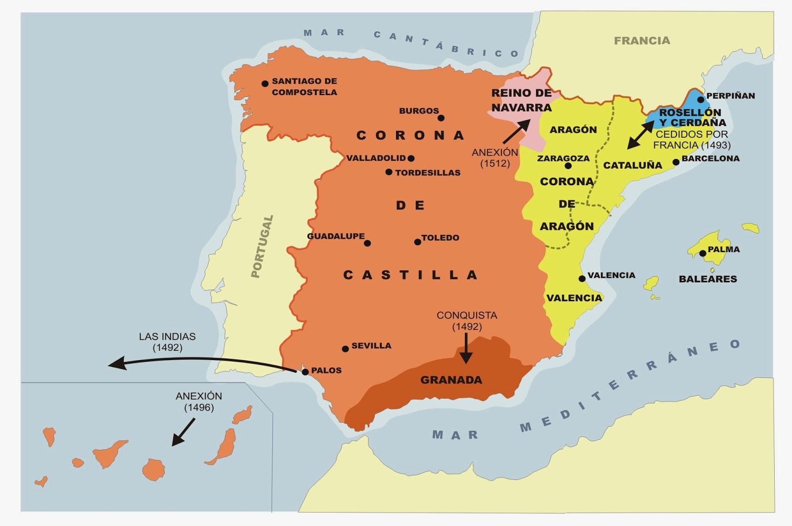 mapa de la corona de castilla y aragon