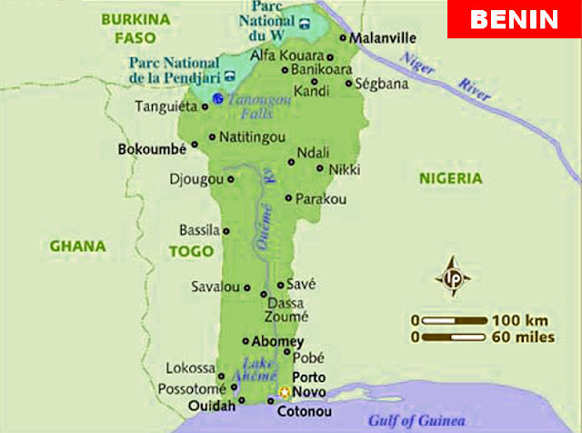Gambar Peta Kota Negara Benin