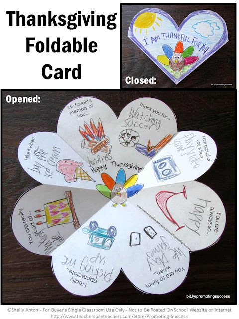 Thanksgiving craft foldable card craftivity