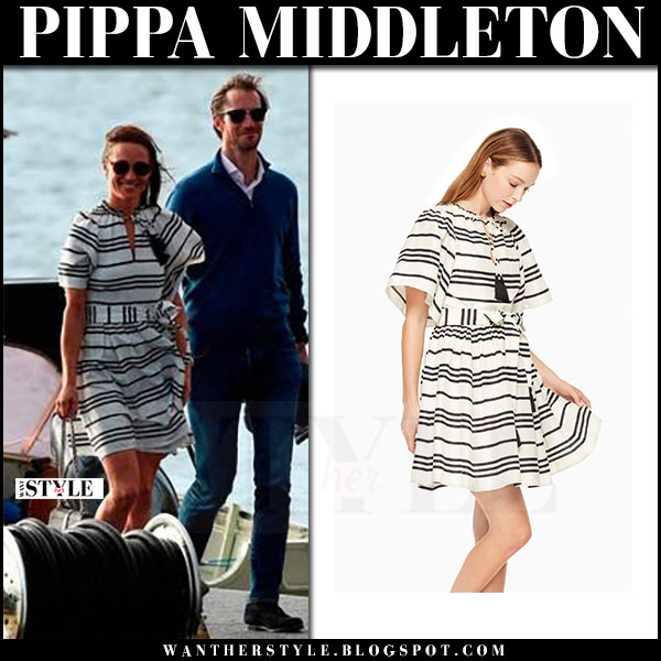 Pippa Middleton in white striped mini dress kate spade bea what she wore honeymoon may 31 2017