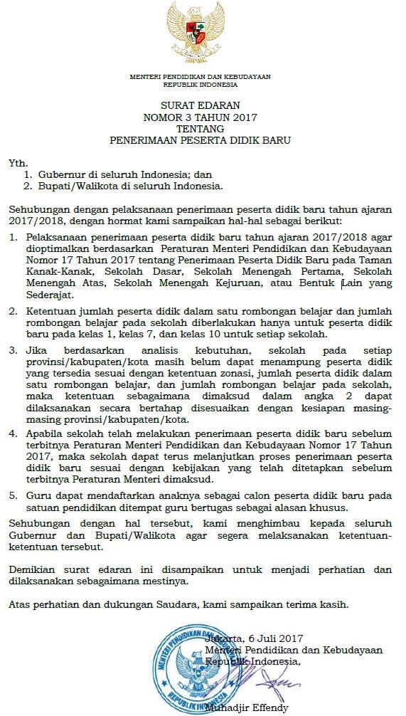 Surat Edaran Ri Nomor 3 Tahun 2017 Tentang Ppdb Penerimaan