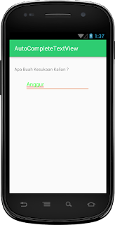 Hasil Widget AutoCompleteTextView Android