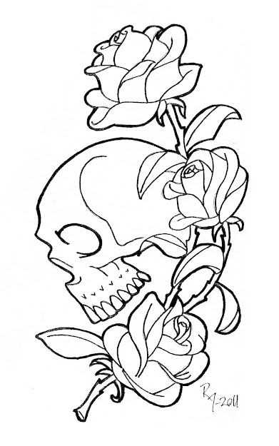Gothic Skull And Rose Coloring Pages Coloring Pages