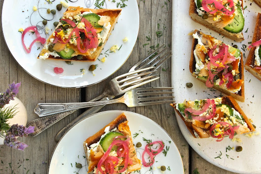 Smoked trout toast with pickled onions