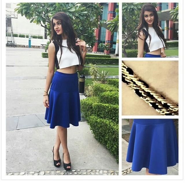 blue , skirt , white , crop , top , aditi arya , black , sling bag , hot , sizzling , model , miss india , beautiful ,