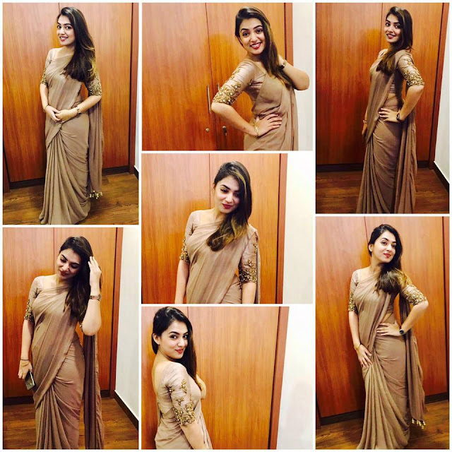Nazriya Nazim Fahadh saree selfies