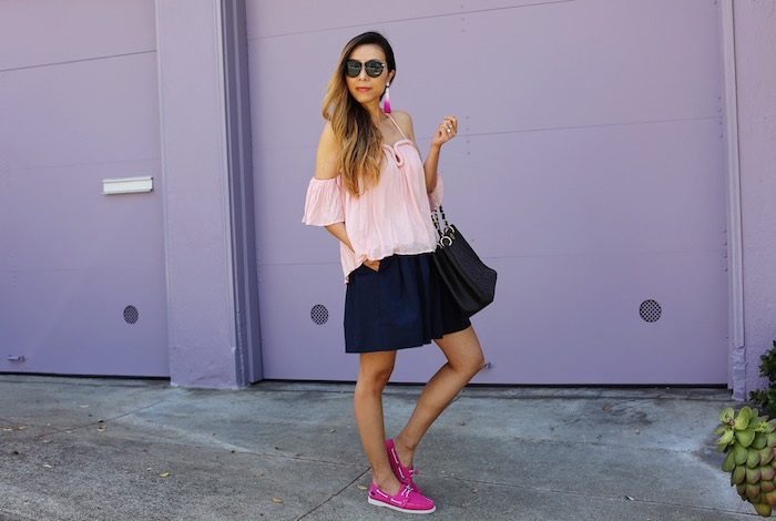 renamed off shoulder top, bauble bar hokkaido tassel drop, everlane pleated skirt, sebago flats, karen walker sunglasses, chanel grand shopping tote, summer street style, san francisco street style, off shoulder top