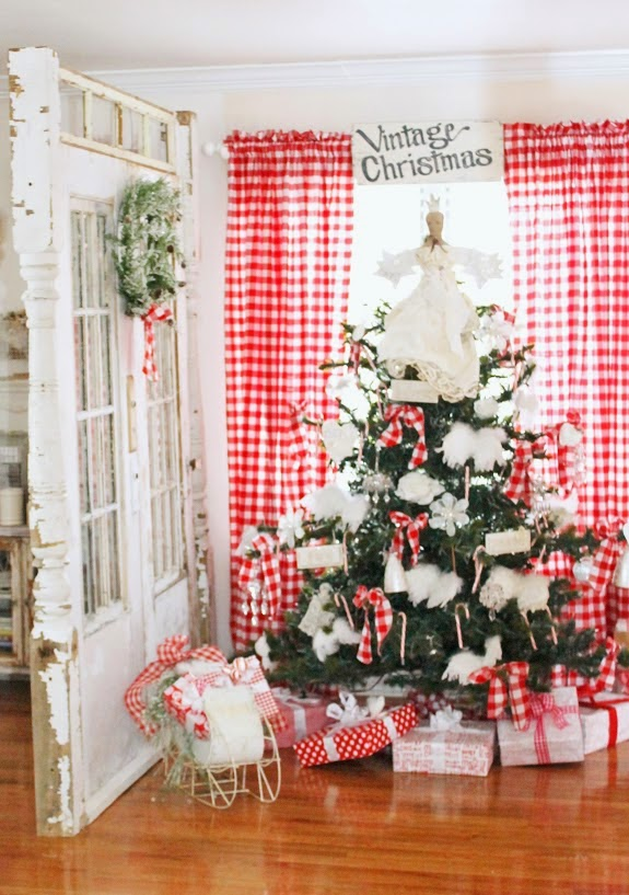 Red and White Buffalo Check Christmas Tree- Junk Chic Cottage-How I Found My Style Sundays Christmas Edition- From My Front Porch To Yours