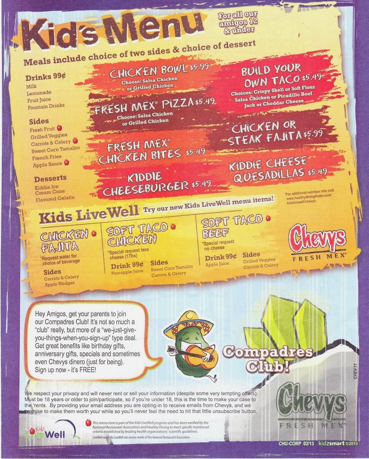 The Kids Menu Chevy S Fresh Mex Kids Menu With Prices