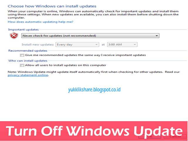 cara turn off windows update