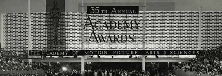 long, narrow photograph of the site of the 35th Academy Awards from 1963