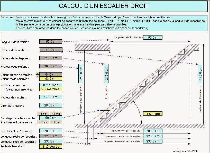 calcul des differents types escaliers sous excel g nie. Black Bedroom Furniture Sets. Home Design Ideas