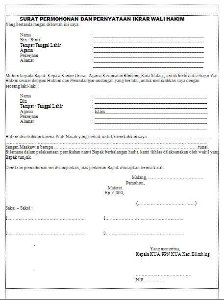 Contoh Surat Kuasa Wali Hakim Nikah Detil Gambar Online