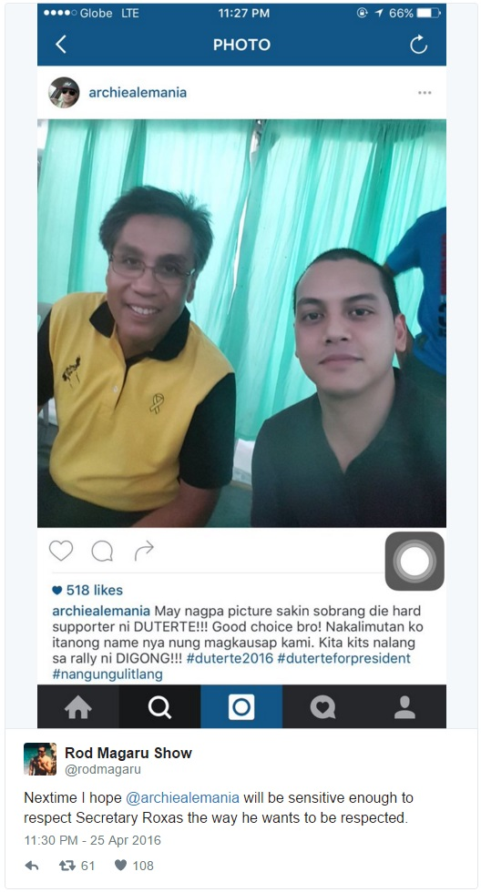 Archie Alemania's action disrespected Mar Roxas, gained negative reactions from netizens!