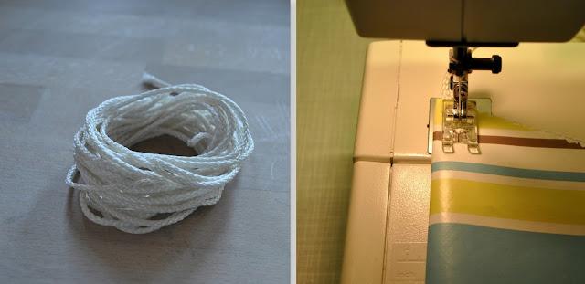 Wäscheleine und Nähmaschine