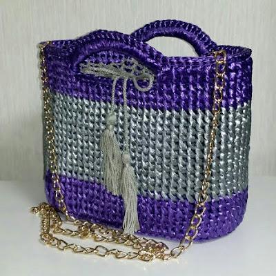 すずらんテープで編む収納バッグは綺麗で丈夫, Chrochet bags used PE tape are beautiful and strong, PE塑料带编织包包显眼又牢固