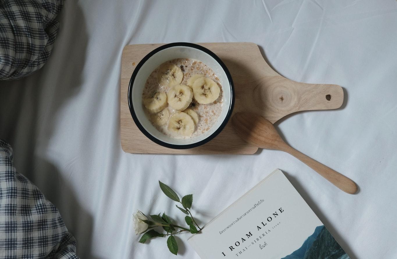 oat meal porridge with bananas morning breakfast