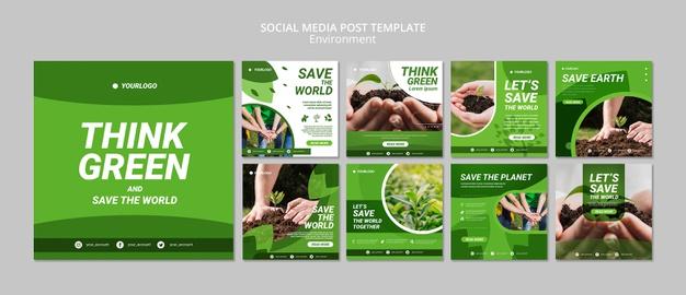 Think green social media post template Free Psd