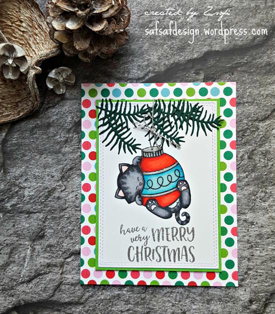 Kitty Christmas Card by Zsofi | Ornamental Newton stamp set by Newton's Nook Designs #newtonsnook