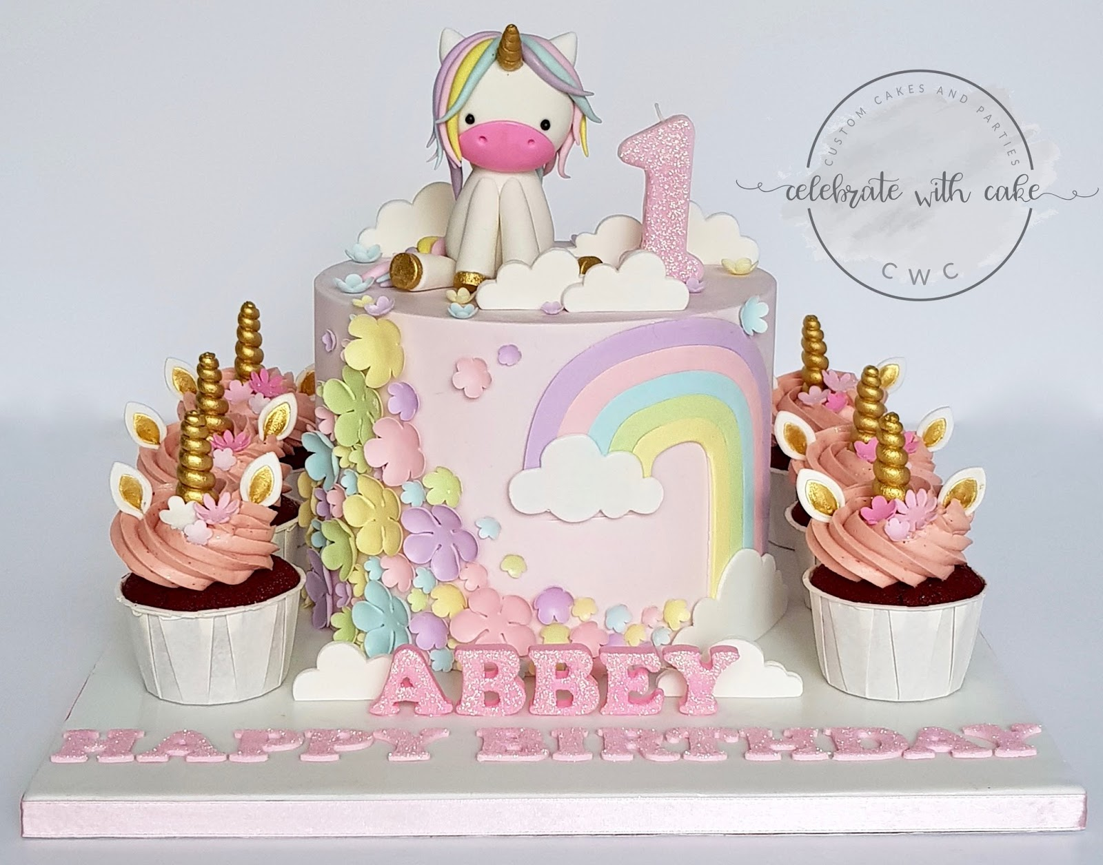 Pastel Unicorn And Themed Cake Cupcake For 1st Birthday