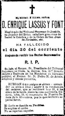 Esquela de Enrique de Lassús (El Imparcial, 31-5-1901)