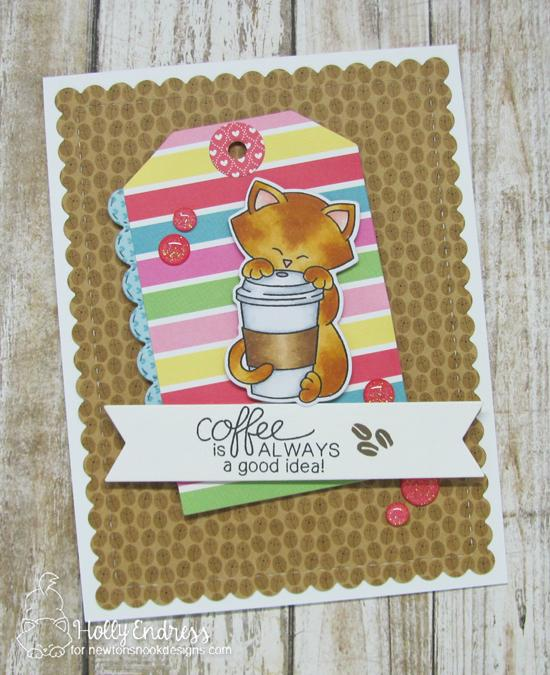 Coffee is Always a Good Idea Card by Holly Endress | Newton Loves Coffee Stamp Set & Fancy Edges Tag Die Set by Newton's Nook Designs #newtonsnook #handmade