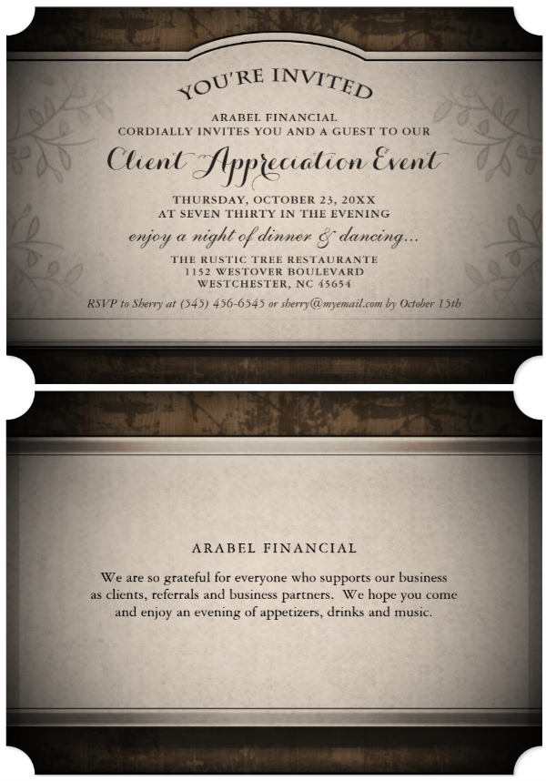 black & gold corporate ticket invitation card front and back