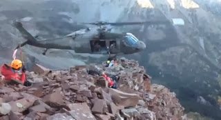 Helicopter performs a rescue on Colorado's Maroon Bells