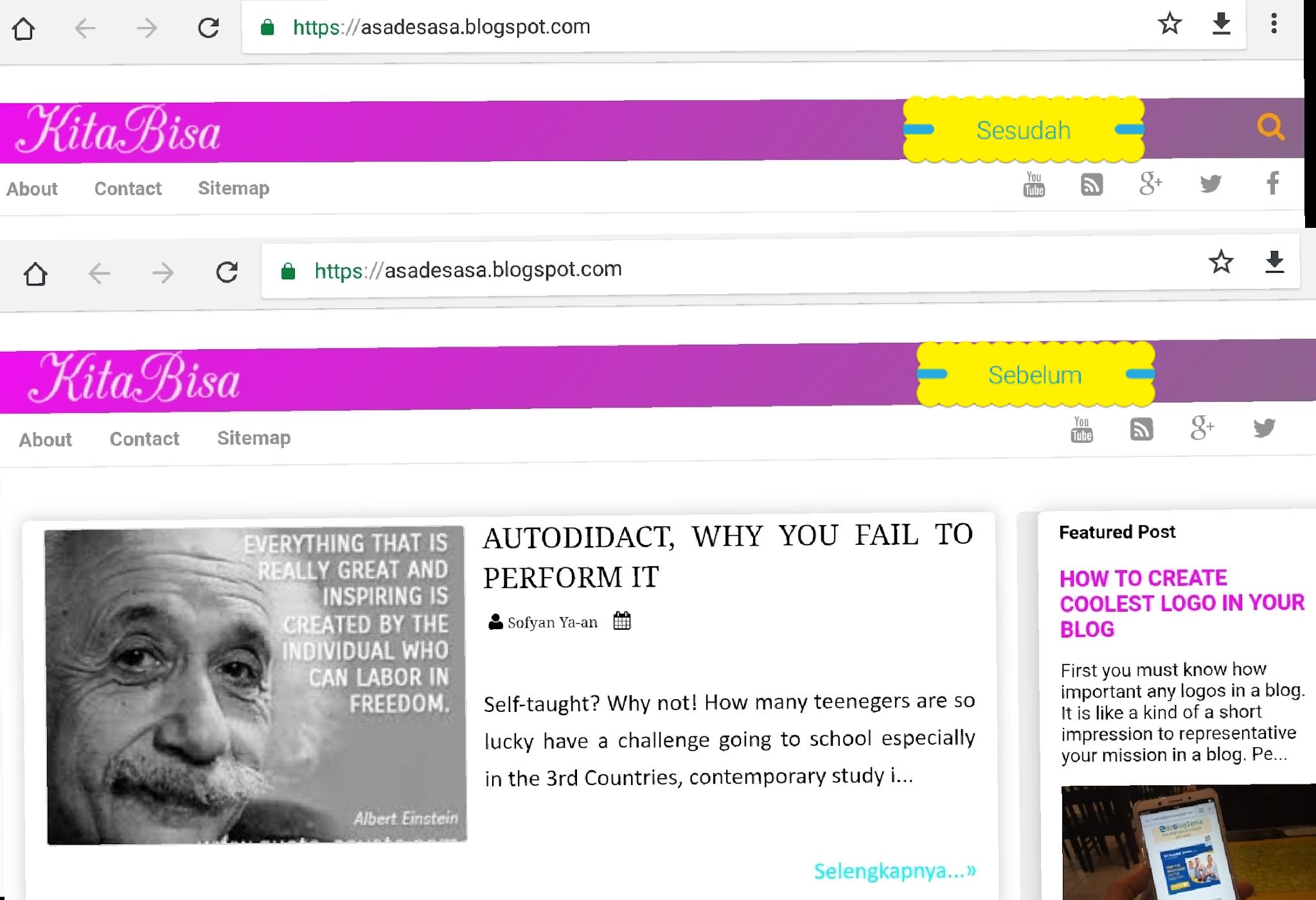 menu kaca pembesar di ujung kanan navbar blog