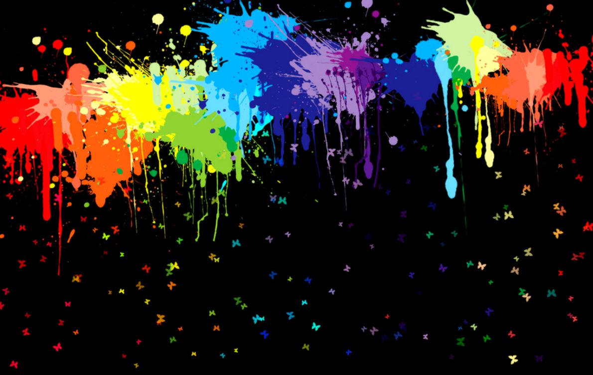 Neon Splatter Paint Wallpaper