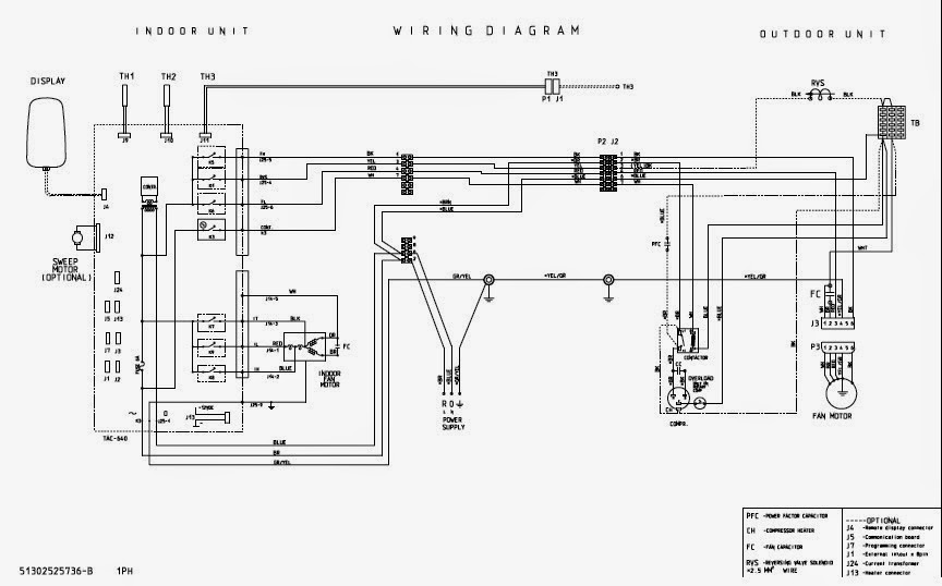 fig 15: split air conditioning units - internal electrical wiring diagram