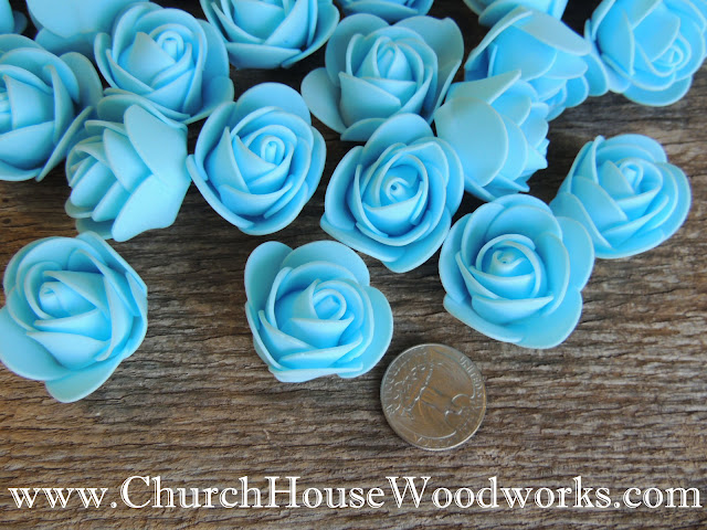 Pastel Blue, Pink, Sherbert Orange, And Mint Green Foam Roses- Table Scatter Decorations For Rustic Weddings, Baby Showers, Birthdays Church House Woodworks