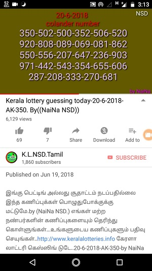 kerala lottery guessing by raja naina, kerala lottery prediction, akshaya ak-350, on 20-06-2018