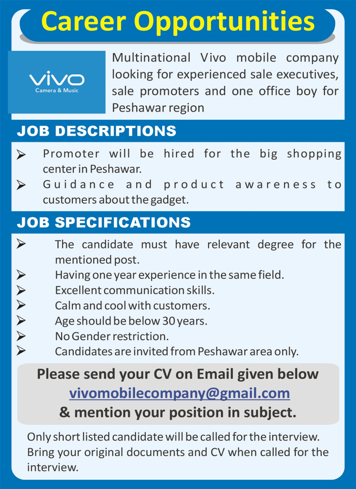 Jobs In Vivo Mobile Limited Company Peshawar 19 May 2017