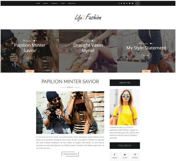 life fashion free blogger theme