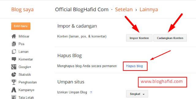 Hapus blog permanen