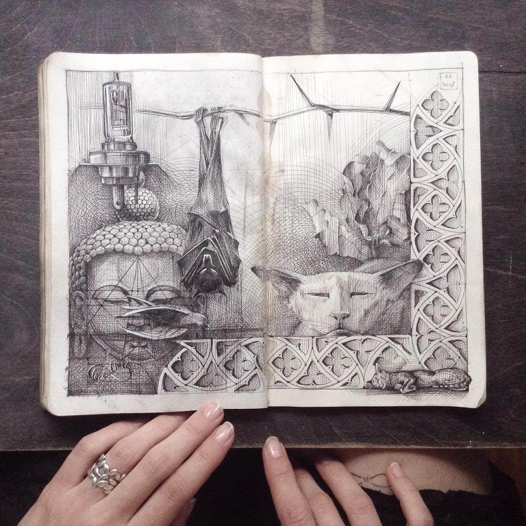 04-Cats-and-Bat-Sleeping-Lena-Limkina-Intricate-Moleskine-Drawings-with-Cats-www-designstack-co