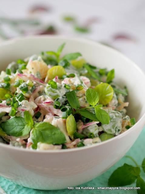 salatka ziemniaczana, ziemnaki, bob, mieta, grill, grillowanie, salatka kartoflana, salatki na lato