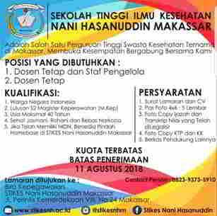 Lowongan Kerja di Sekolah Tinggi Ilmu Kesehatan Nani Hasanuddin Makassar