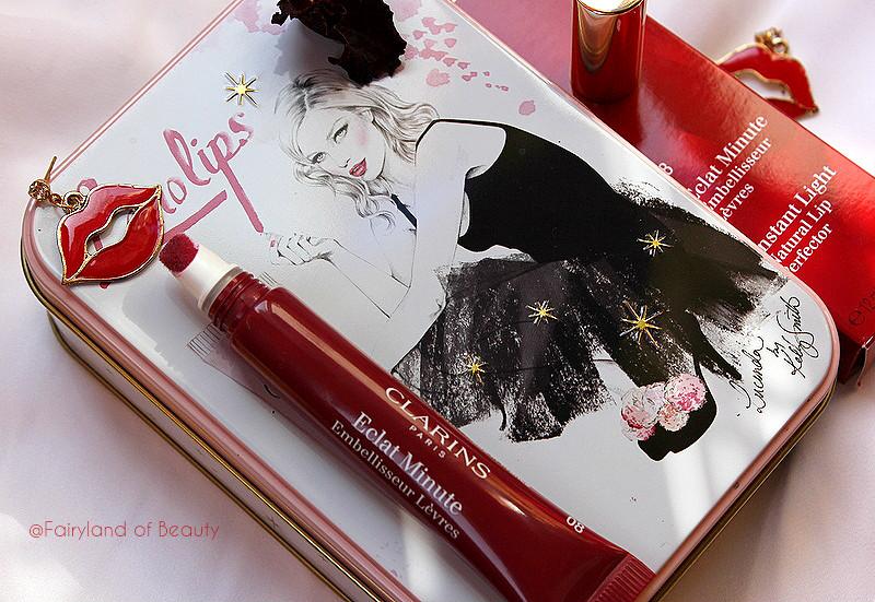 Весенняя коллекция CLARINS Eclat Instantane. Блеск для губ Clarins Instant Light Natural Lip Perfector в оттенке #08 мерцающий сливовый.