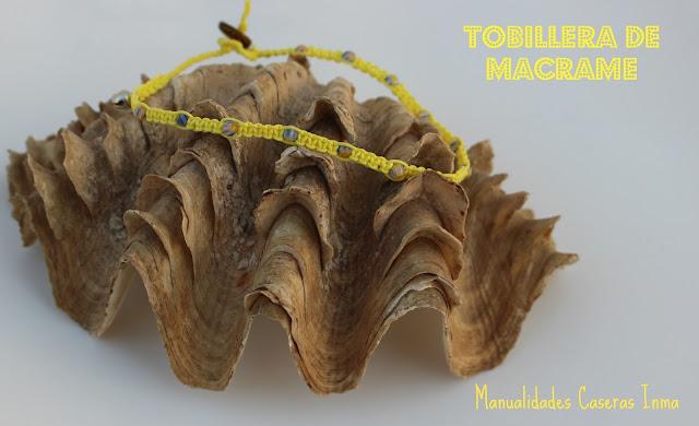 Manualidades caseras Inma Tobillera macrame con bolitas