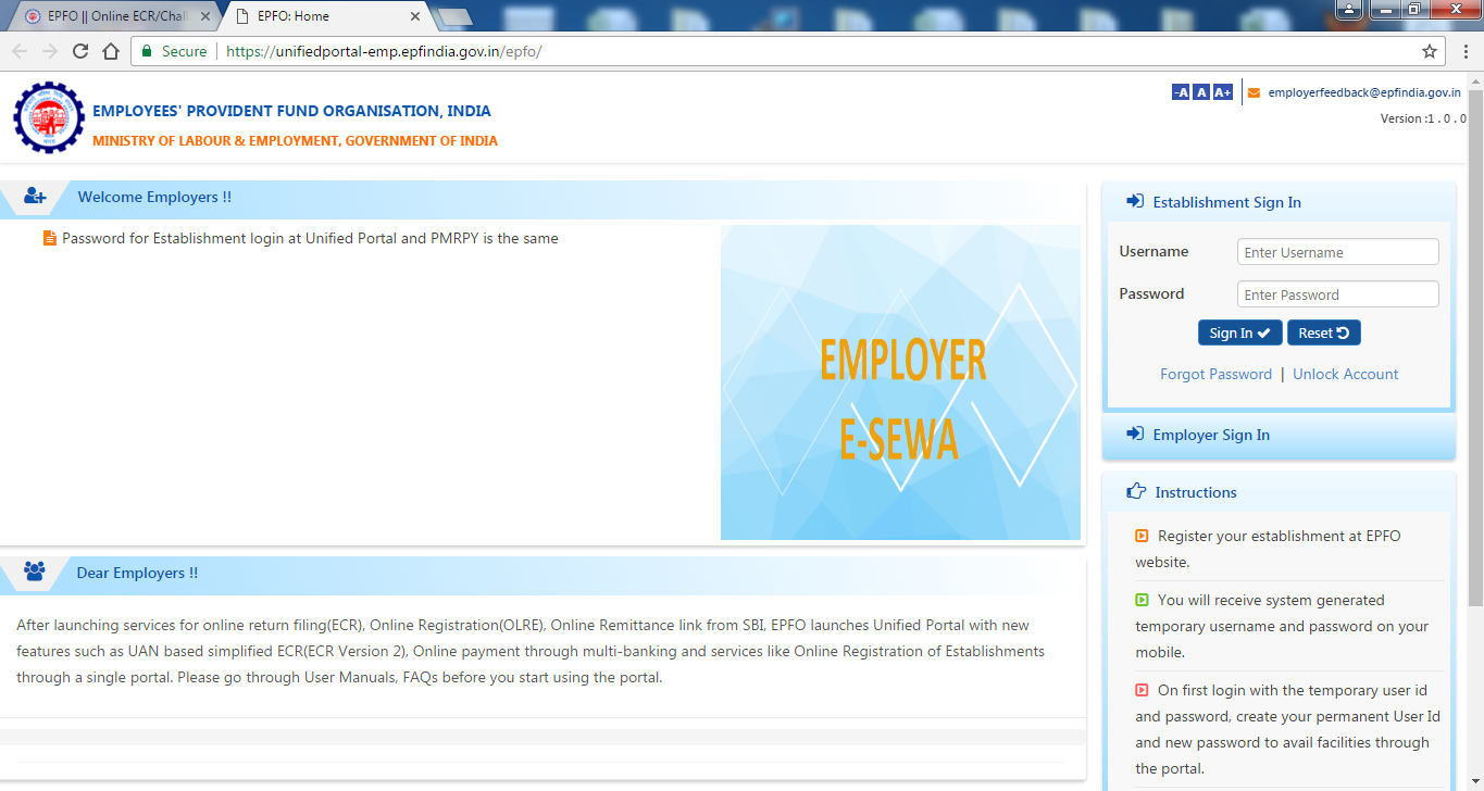 EPF Employer Login Page