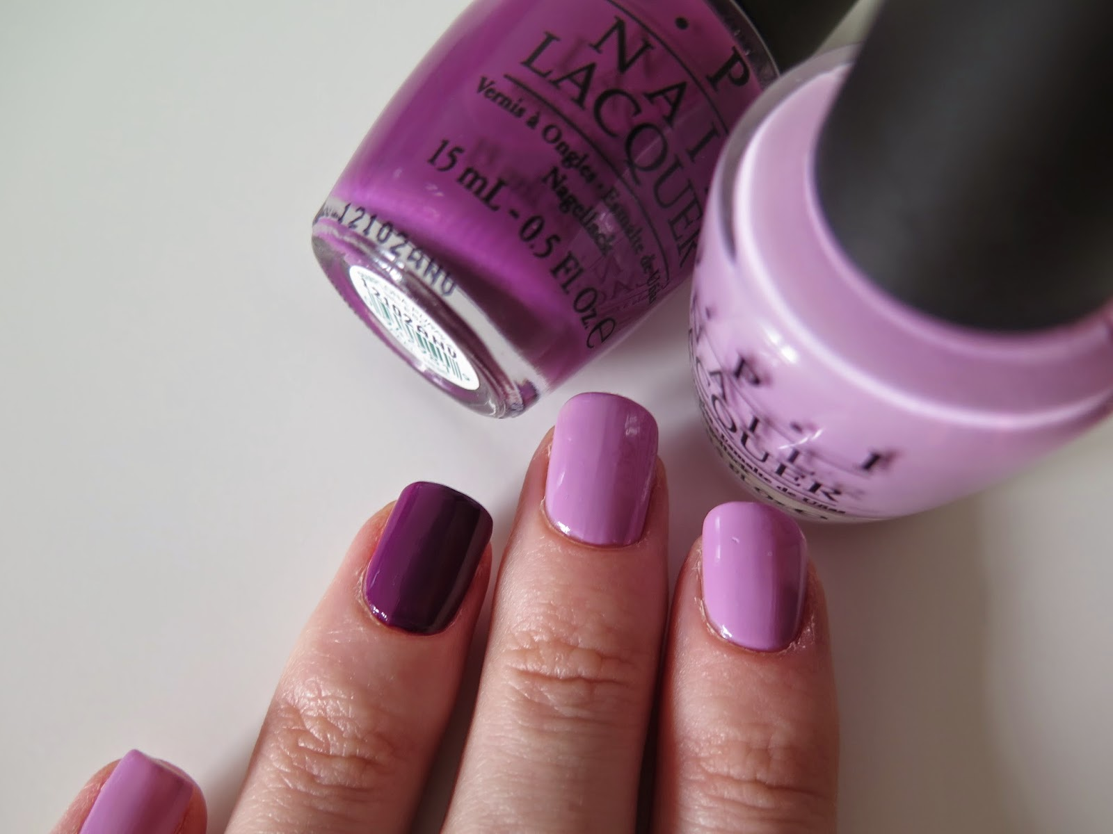 purple nails, OPI, pamplona purple, lucky lucky lavender