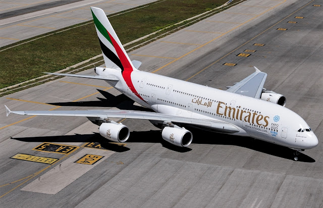 emirates a380-800 at madrid airport