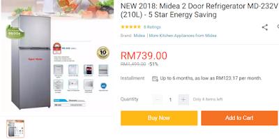 Lazada Shopathon Blogger Contest, Lazada Malaysia, Lazada Blogger Contest, 9.9 Festival Sale, Diskaun, Jualan Murah, Online Shopping, Sale Di Lazada, 2018, Midea 2 Door Refrigerator, Peti Ais,