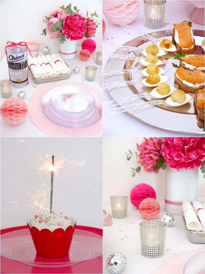 A Pink and Silver New Year's Eve Party - ideas on DIY decor, party food and a delicious cocktail recipe to help you celebrate the new year in style! by BirdsParty.com @birdsparty #newyears #newyearseveparty #newyearsparty #partyfood #pinksilverparty #cocktailparty #partyappetizers
