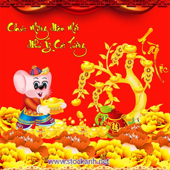 Vector Cây Tài lộc_ chuột vàng 2020